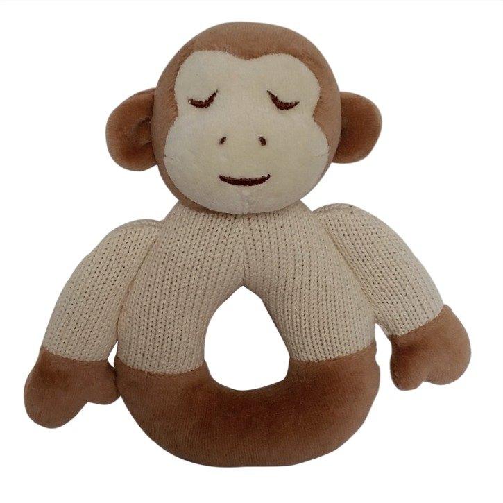 美國MyNatural有機棉晚安系列固齒器手搖鈴-棕色小猴