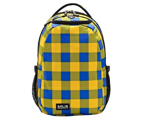 "SOLIS Fantasy square Series 13"" basic laptop backpack (yellow/blue grid)"