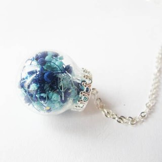 * Rosy Garden * blue glass ball necklace blending the stars