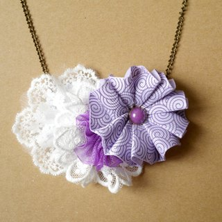 Purple Ribbon flower necklace can be customized Family fitted []