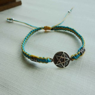 ~ M + Bear ~ pentacle pentagram star of I 925 sterling silver bracelet braided silk thin wax Bracelet