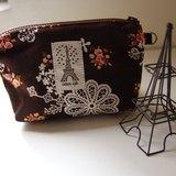 【布。棉花】簡約時尚零錢包, 鐵塔風小化妝包, 巧克力蕾絲萬用包