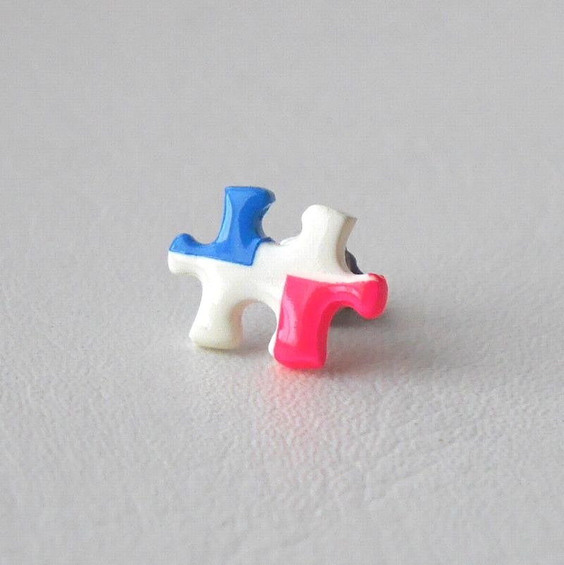 Puzzle earrings pink
