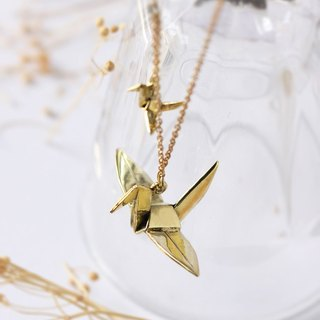 Two origami bird pendant necklace.