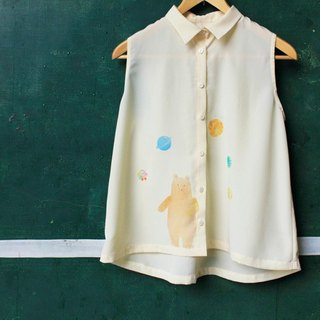 Hand made illustration picture book beige white sleeveless shirt - do not eat meat big bear and blue planet girl - page1