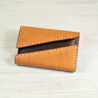 MICO hand-sewn leather card case double open design (light tea coke tea)