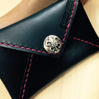 Italian cow leather hand-stitched envelope card holder - inner suede - black knight subsection (red) 925 silver clasp