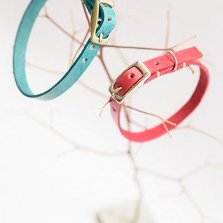 Handmade leather pet collar - double-sided color (cat)