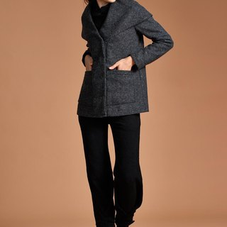 Dark gray lapel shawl coat