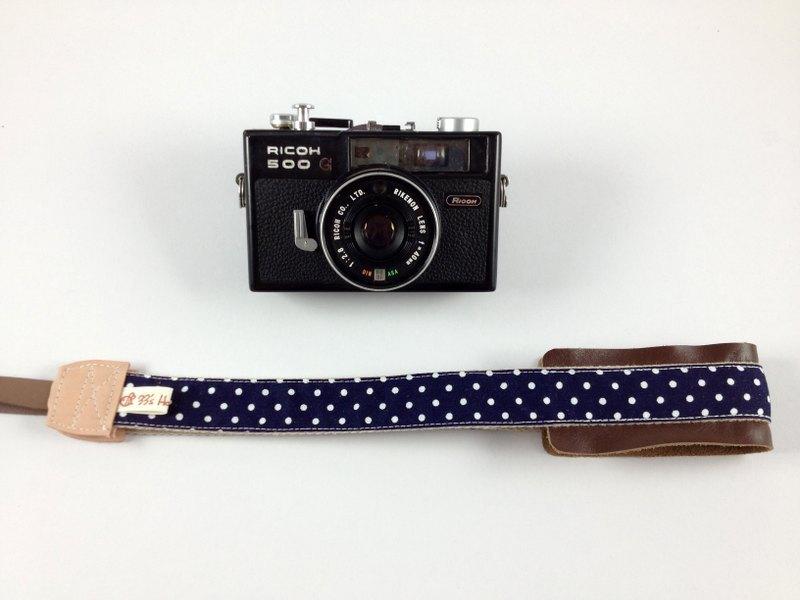 手作單眼.類單眼減壓相機背帶.相機背繩---深藍色點點款