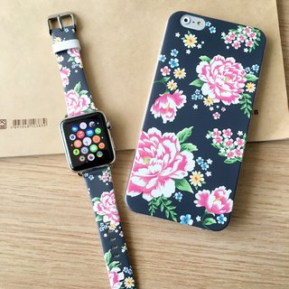 [Gift Packaging] Apple Watch Series 1 and Series 2 - Hong Kong Style Chinese Flower Deep Blue Patten Soft / Hard Case + Apple Watch Strap Band