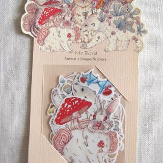 Cat squirrel chipmunk rabbit blue-footed booby bird animal mushroom stationery stickers