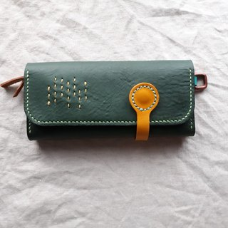 Forest green lantern long folder _ handmade leather