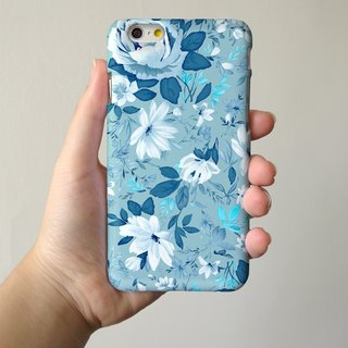 Blue floral rose 3D Full Wrap Phone Case, available for  iPhone 7, iPhone 7 Plus, iPhone 6s, iPhone 6s Plus, iPhone 5/5s, iPhone 5c, iPhone 4/4s, Samsung Galaxy S7, S7 Edge, S6 Edge Plus, S6, S6 Edge, S5 S4 S3  Samsung Galaxy Note 5, Note 4, Note 3,  Note