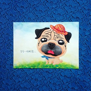 Postcard-Relaxing Pug