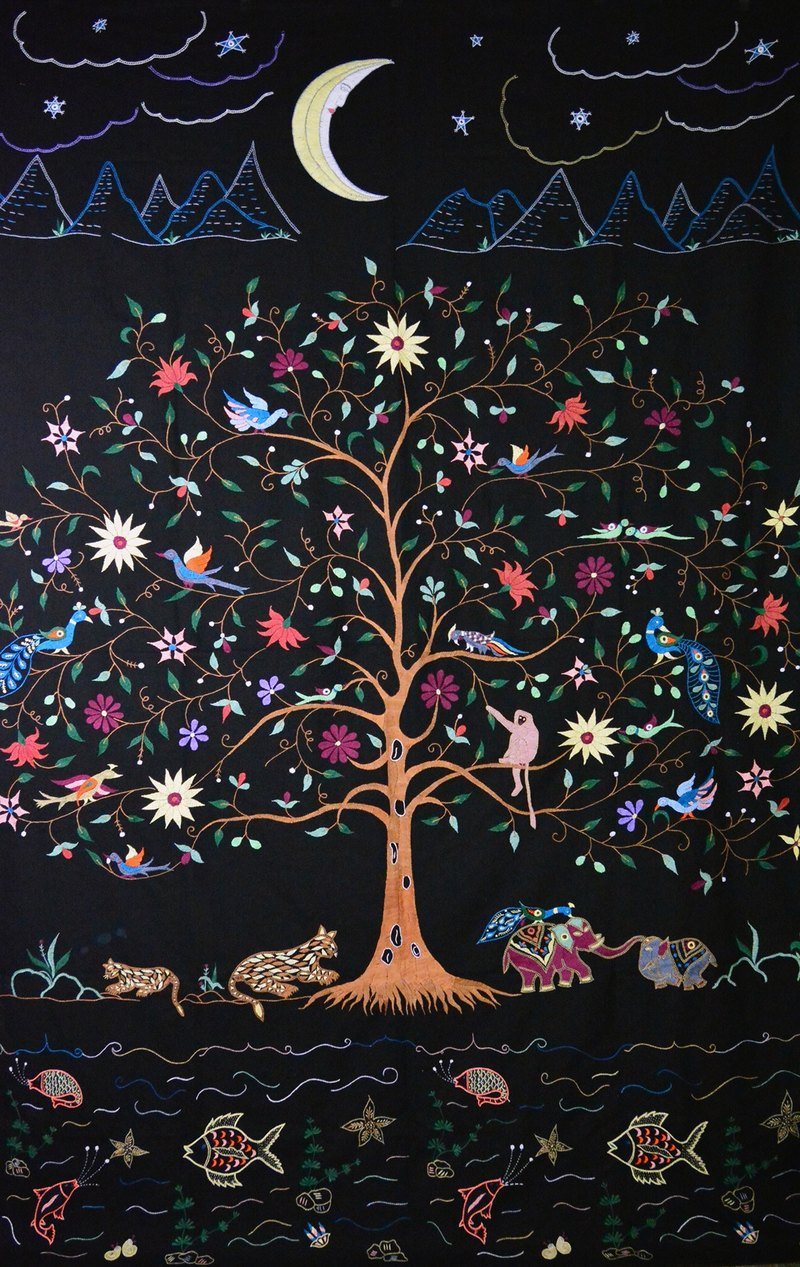 Tree of Life _ hand-embroidered curtain / sheets _ night _ fair trade
