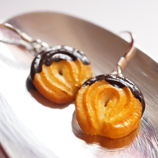 *Playful Design* Vanilla Ring Cookie with Chocolate Sauce Drop Earrings