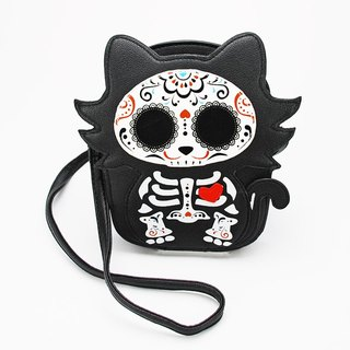 Sleepyville Critters - Tattooed Skeleton Cat With A Heart Shoulder Crossbody Bag
