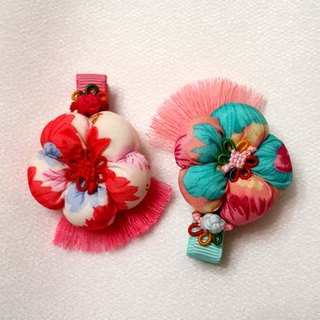 <MamaBabyGirls> festive New Year Limited - Bubble Floral bangs hairpin [red, white / light blue]