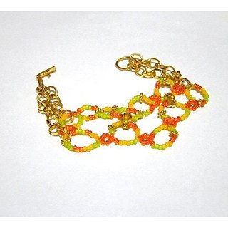 Brightly colored beads braided bracelet