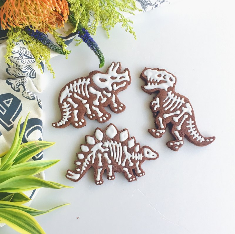 Sugar Cookies • Dinosaur Fossils I Love Jurassic Park Hand Drawn Styling Cookies 3 Pieces