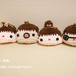 [Leaf cat son. Hand-made crochet doll finished] - Short-haired girl mouth gold package
