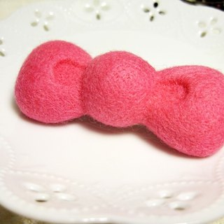 Wool felt tweeted hairpin - light pink