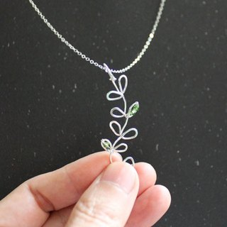 Leaves Sterling Silver Necklace with Crystal beads