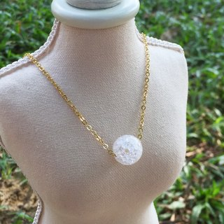 """LaPerle"" 1 粒 sparkling clear ice popcorn necklace 16k gold-plated brass bead necklace Handmade Christmas gifts"