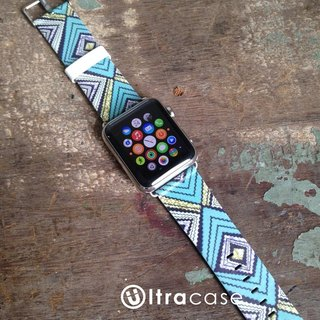 Apple Watch Series 1, Series 2 and Series 3  - Vintage Navajo Tribal Pattern Printed on Genuine Leather for Apple Watch Strap Band 38 / 42 mm - 46