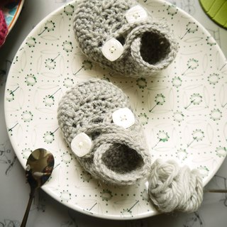 Handmade knit baby shoes - Elf series (gray)