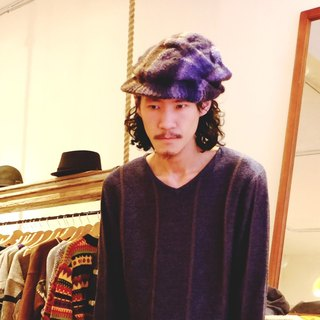 Araignee Design*Hand made ​​retro knit caps -News Boy reported bonnet*dark blue brown brown gradient pattern