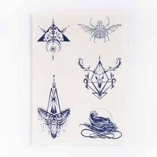 LAZY DUO Linework Deer Skull Beetle Spiritual Artistic Realistic Temporary Tattoo Stickers { SET 08 }