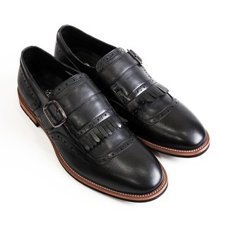 [LMdH] C1B03-99 calf leather tassels carved wood with a single buckle shoes Munch black loafers ‧ ‧ Free Shipping