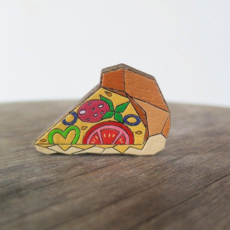 披薩木製別針