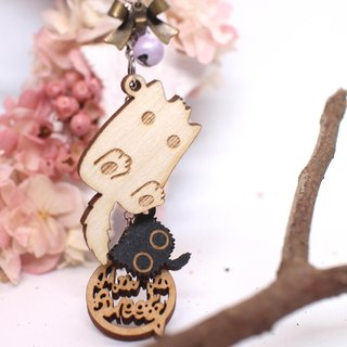 MuMu Sweety ✿ strange cat with white fur ball / keychain / mobile phone strap