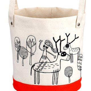 Elk - small round embroidery + printing bag