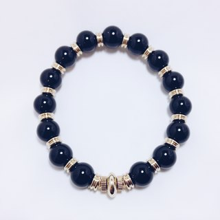 LOOPORIGINAL black onyx bracelet brass [Bean series of large pieces of the original stone]