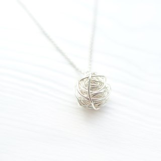 NO WORRIES- Twisting Silver Ball Crystals Necklace
