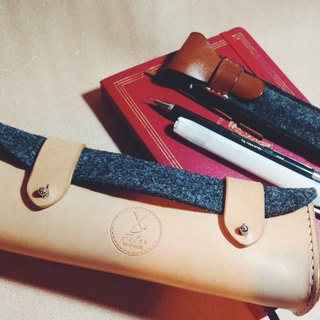 Fiber vegetable-tanned leather, hand-made hand-stitched wool felt pencil bag / box