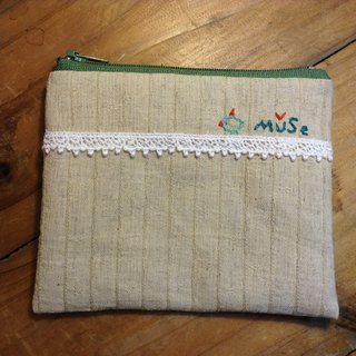 MuSe bird embroidery purse / Cosmetic - Jacquard Green