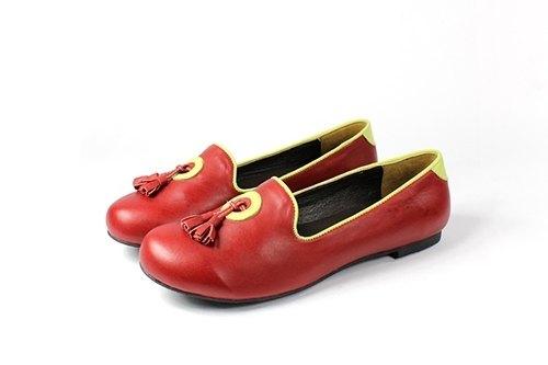 紅 流蘇樂福鞋