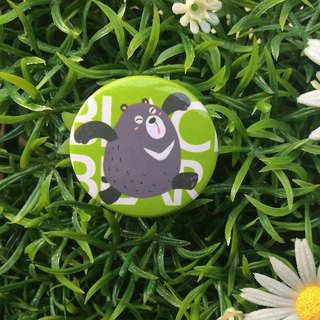 CHUMIO RUN Series: Illustration Badge Pin / Magnet (Black Bear)
