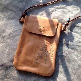 Lan Yu mobile phone sets of hand-stitched leather neckbag *