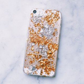 Vintage gold foil series ll maple leaf gold foil x silver foil ll phone case