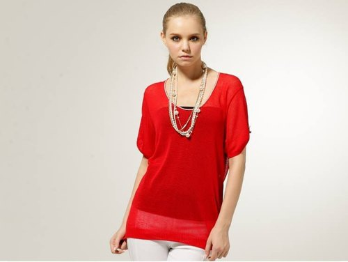 [KIINO] U-neck Long plain through skin feeling lazy fashion knit blouse - red