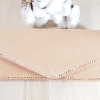 Leather Envelope Long Clamp Basic Style Natural Leather