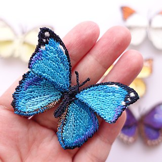 Embroidery Butterfly Brooch Clip Ring / Menelaus Blue Morpho Butterfly (small)