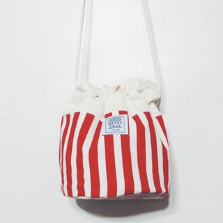 :::Bangstree:: Shoulder Bucket Bag - Popcorn red lines