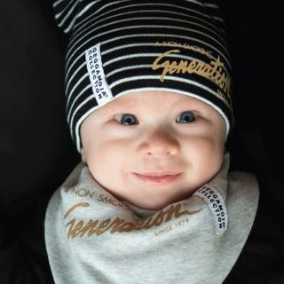 Infant Organic Cotton Striped Hat Hot Gold LOGO Black / White
